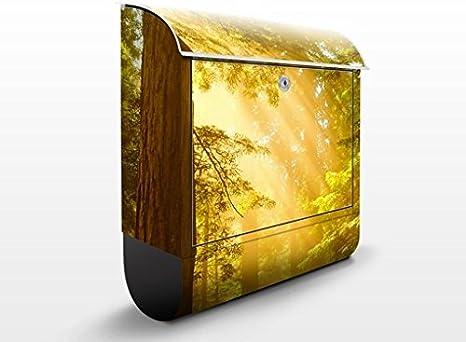 Buzón de diseño Morning Gold 39x46x13cm, acero inoxidable, buzón, diseño buzón, postbox, diseño de correos con compartimento para periódicos, caja, Tamaño: 46cm x 39cm