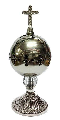 (Nazareth Store Silver Charcoal Incense Burner Catholic Cross Censer Brass Plated Distiller for Church and Home)