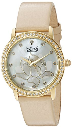 Burgi Women's Swarovski Crystal Accented Gold-Tone Bezel and Flower Design Mother-of-Pearl Dial on Beige Genuine Leather Strap Watch BUR159CM
