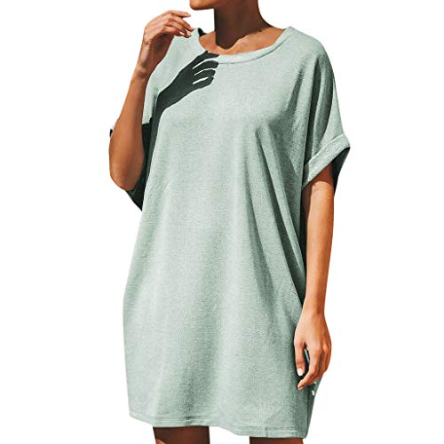 Hot!Women Plus Size Dresses O-Neck Solid Color Short Sleeve Dress Casual Loose T-Shirt Swing Dress by Qingell Mint Green ()