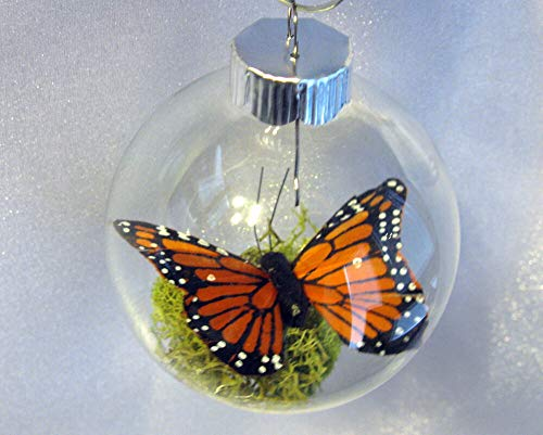 Monarch Butterfly Memorial Christmas Ornament - Clear Glass -2 1/4