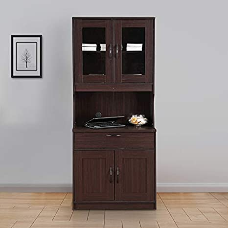 HomeTown Libya Engineered Wood Crockery Cabinet in Walnut Colour Bookcases