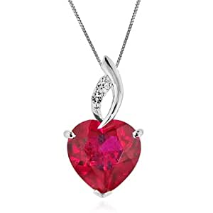 7.50 Carat tw Ruby & White Sapphire Heart Pendant in Sterling Silver with Chain. Stone Size 12x12