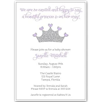 Lovely Princess, Baby Shower Invitations, Girl, Purple, Silver, Crown, Sparkle,
