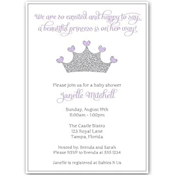 Amazon princess baby shower invitations girl purple silver princess baby shower invitations girl purple silver crown sparkle filmwisefo