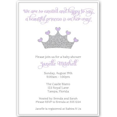 Pretty Princess Baby Shower Invitations Royal Sprinkle Invites Girls It's A Girl Purple Tiara Crown Silver Sparkle Bling Glitter Little Queen (10 Count)