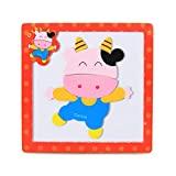 Gbell Colorful Animal Numbers Wooden Puzzle Set for Toddlers,15×15×0.5CM Jigsaw Board Educational...