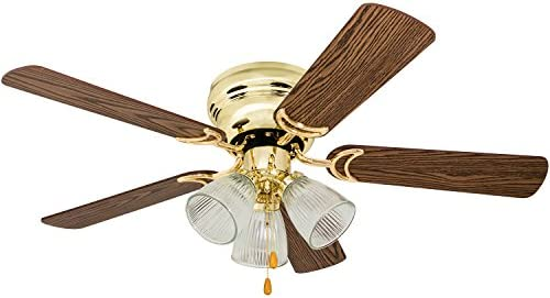 Prominence Home 50862 Whitley Hugger Ceiling Fan with 3 Light Fixture, 42 LED Indoor Low-Profile Flush-mount, Bright Brass