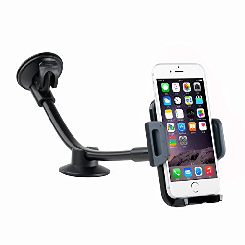 Car Phone Mount DHYSTAR Flexible Long Arm Windshield Car Holder Cradle Universal for 3.5 to 6.0inch Smart phone/Cell phone,iphone 7/7 plus/6/6s plus/5s/se,Samsung galaxy S7/S6/S5, Nexus/LG/HTC etc