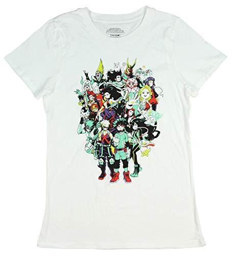 My Hero Academia Juniors Character Group Graphics Design T-Shirt (XX-Large) White