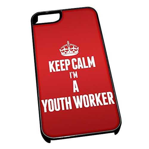 Nero cover per iPhone 5/5S 2720 Red Keep Calm I m A Youth Worker