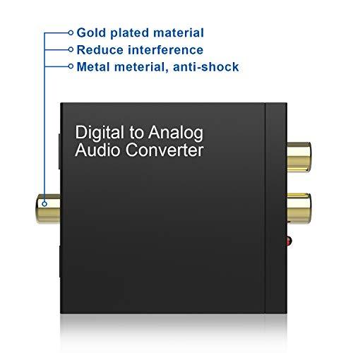 Convertidor DAC, Aluminio Digital/Toslink a analógico RCA L/R Adaptador convertidor de Audio con Cable óptico, Cable coaxial, Cable USB Alimentado ...