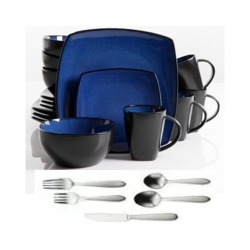 Square Dinnerware Service For 8, Plates Bowls Mugs Flatware Silverware,  77 Piece Set, Blue U0026 Black