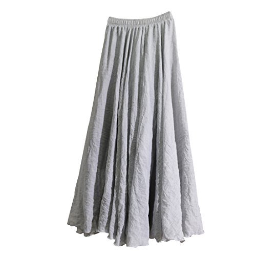 Kafeimali Women Bohemian Cotton Linen Double Layer Elastic Waist Long Maxi Skirt (Gary, 95CM-Length)