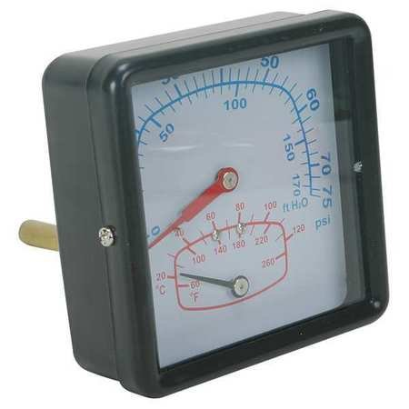Boiler Gauge, Square, 0-75 PSI, 60 to 260 F (Boiler Temp Gauge)