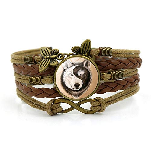 YUANOMSL Woven Bracelet,Brown Rope Black and White Yin and Yang Wolf Animal,Time Gemstone Bracelet Multi-Layer Hand-Woven Glass Combination Jewelry Ladies Fashion European and American Style - Yang Gemstone