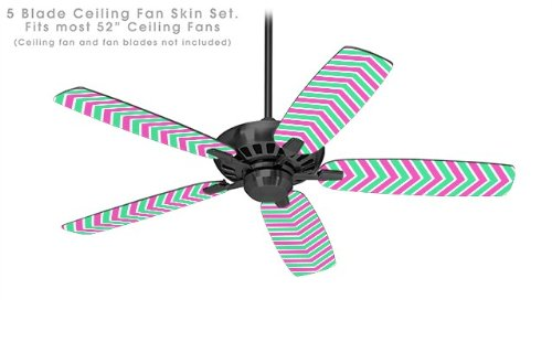 Zig Zag Teal Green and Pink - Ceiling Fan Skin Kit fits most 52 inch fans (FAN and BLADES NOT ()