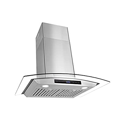Cosmo COS-668WRCS75 Pro-Style Wall Mount Range Hood 30 inch 760 CFM Tempered Glass Ducted Exhaust Vent, 3 Speed Fan, Stainless Steel