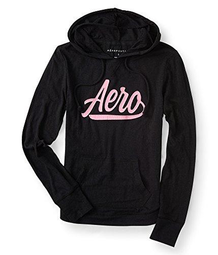 Aeropostale Lightweight Aero Pullover Hoodie Small Black (Pullover Hoodies Womens Lightweight)