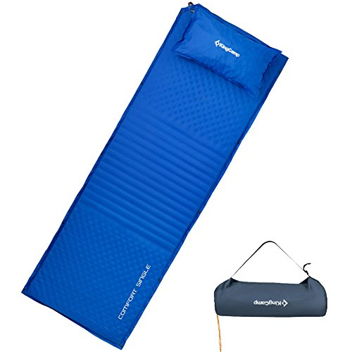 KingCamp Sleeping Pad with Oversize Pillow Self Inflating TRIPLE ZONE XL Mattress Spliced Damp-proof Durable 100% Polyester 75D Micro Brushed Comfort Lightweight for Camping Hiking Backpacking