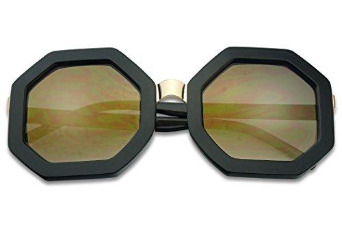 SunglassUP- Bold Geometric Metal Bridge Octagon Shape Vintage Sun Glasses W/Light Mirrored Lens (Black, Gold Mirror) ()