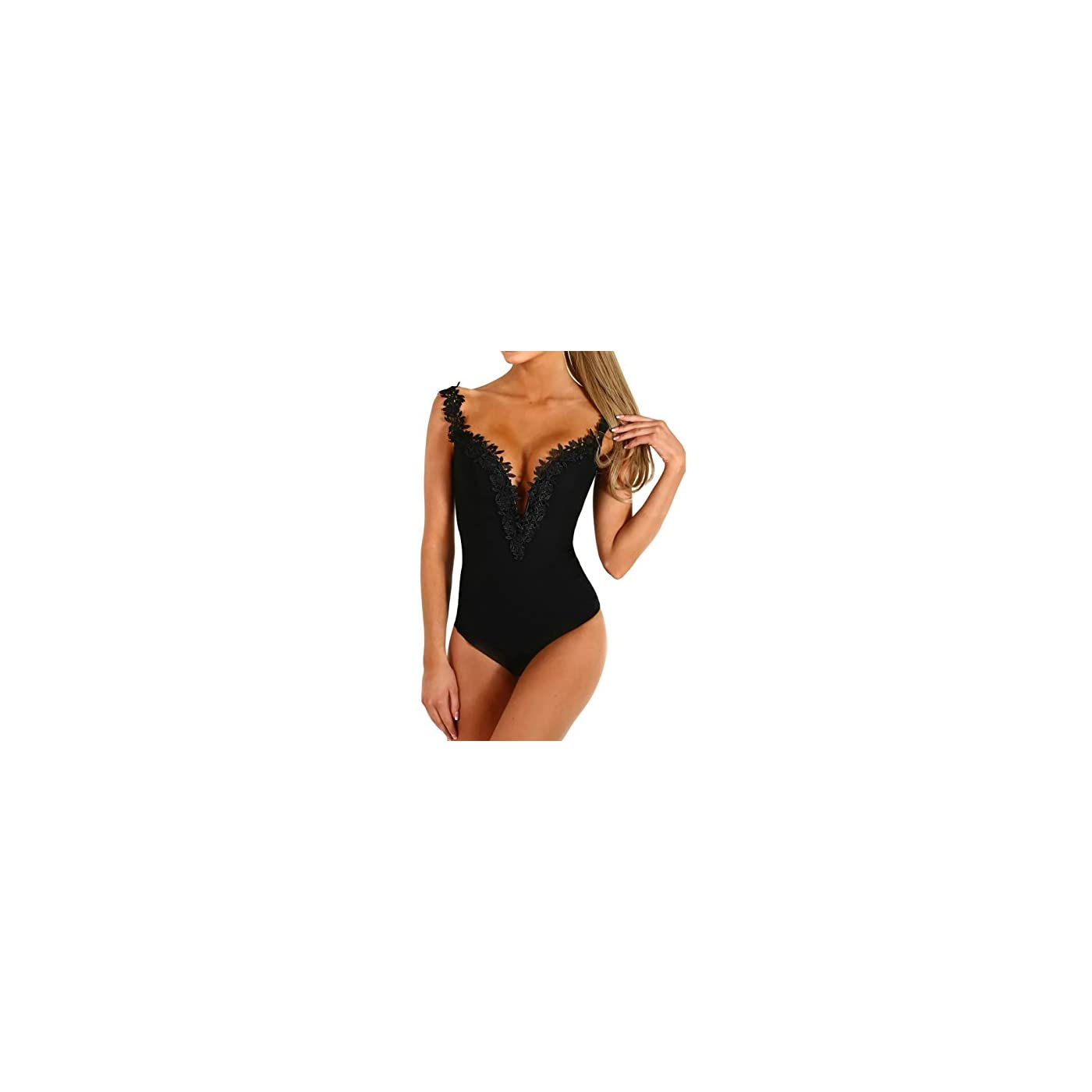 HUUSA Sexy Womens Black Mesh Unlined Mock Neck Corset Bodysuit 41GQhAUEOhL