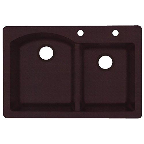 "Swanstone QZ03322DB.170-2C 2-Hole Granite Kitchen Sink, 22"""