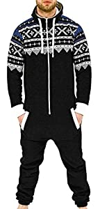 SkylineWears Men's Fashion Onesie Jumpsuit one Piece non Footed Pajamas