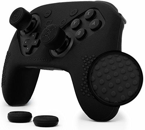 Nintendo Switch Pro Controller Skin Set by Foamy Lizard – AlphaPro Grip, STUDDED Sweat Free Silicone Cover w/ Flat Anti-slip Studs PLUS set of 4 QSS-Pro Thumb Grips (SKIN + QSS-P GRIPS, BLACK) - Free Lizard