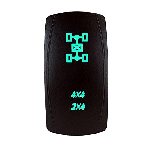 STV Motorsports Laser Green Rocker Switch 4x4/2x4 AWD 20A 12V On/Off LED Light