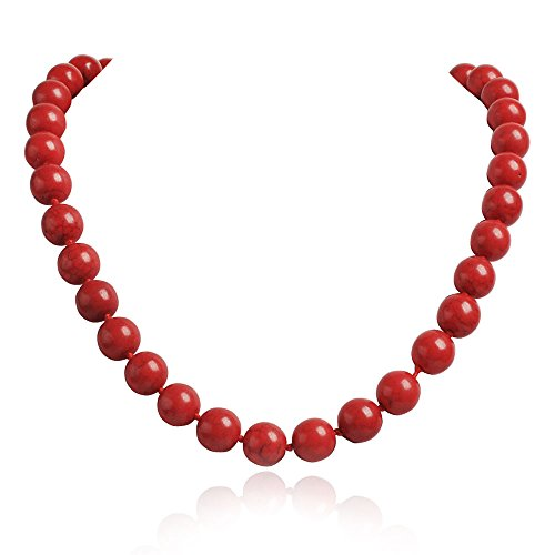 Jane Stone Funky Coral Color Round Beads Strand Collar Bib Necklace Fahion Elegant Jewelry Mother Gift(Fn1257-Red)