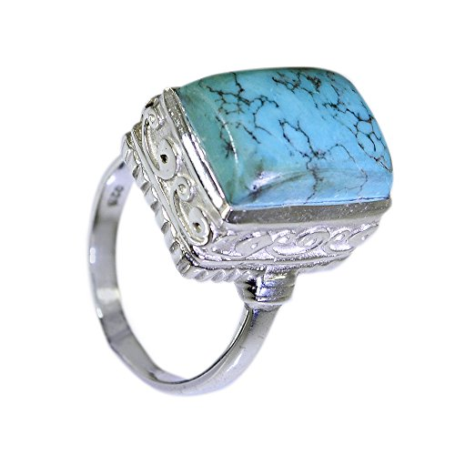Jewelryonclick Rectangle Shape Turquoise Ring Real Silver Vintage Style Birthstone Available in Size 4-12 ()