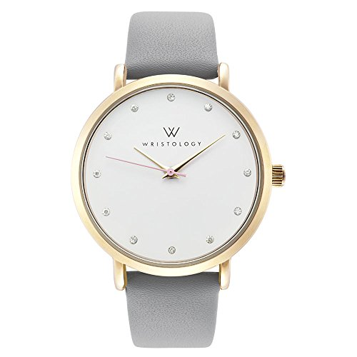 WRISTOLOGY Olivia Womens Gold Crystal Wrist Watch Grey Leather Band