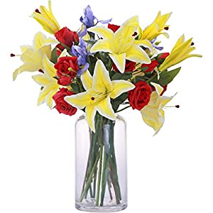 MARLLES Artificial Flowers Mixed Bouquets - Include Lifelike Big Blooms Fake Red Roses, Yellow Silk Lilies for Mother's Day, Anniversary, Birthday, Graduation, Wedding Home Decoration 8