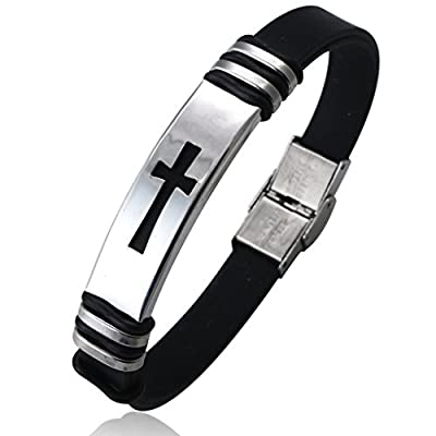 Jstyle Jewelry 2 Pcs Men's Stainless Steel Religious Black Rubber Cross Bracelet