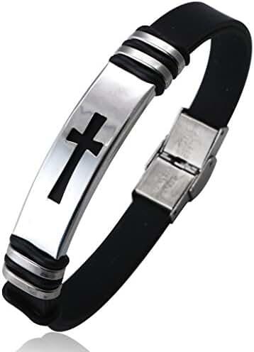 Jstyle Jewelry Men's Stainless Steel Religious Black Rubber Cross Bracelet