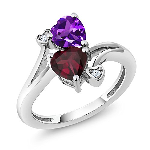 Sterling Silver Heart Shape Purple Amethyst & Red Rhodolite Garnet Women's Ring (1.40 cttw, Available in size 5, 6, 7, 8, 9) -