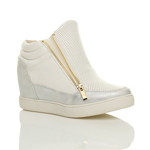 mid Gold Heel Size Ajvani White Silver Womens Ladies zips Ankle Trainer Wedge Sporty Boots XfwwRCx