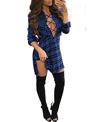 Women Cross Criss Front V Neck Slim Lace Up Long Sleeve Check Shirt Side Split Plaid Dress
