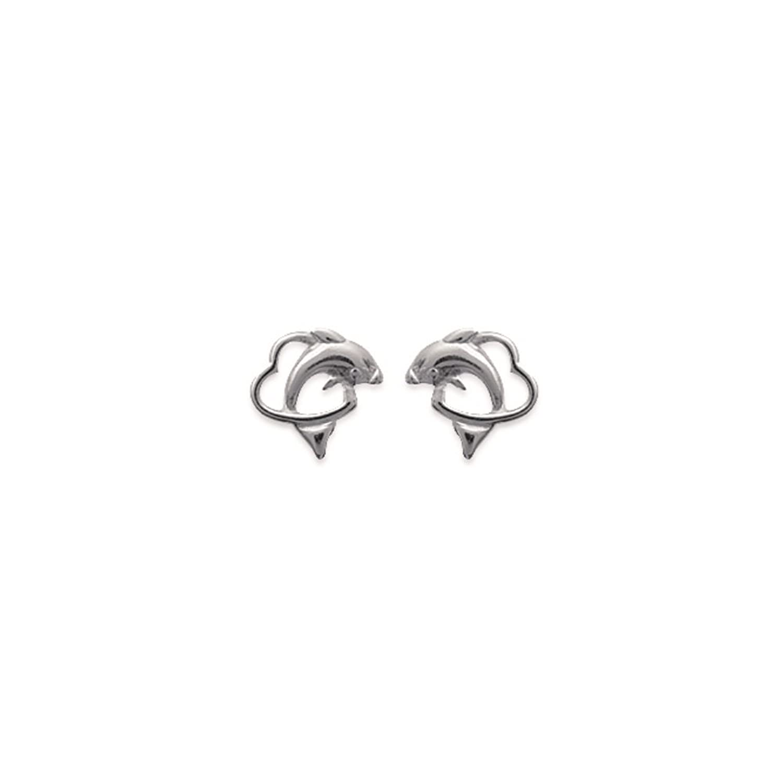 5a0caa162fdf Pendientes de tuerca plata 925 rhodié corazón delfín 9 mm Outlet ...