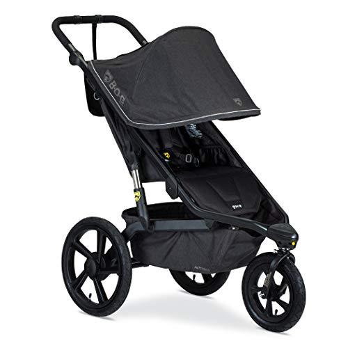 BOB Gear Alterrain Jogging Stroller | Quick Fold + Adjustable Handlebar + XL UPF 50+ Canopy, Melange Black