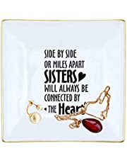NKIPORU Sister Gifts, Side by Side or Miles Apart Sisters Will Always be Connected by The Heart Ceramic Jewelry Dish Birthday Gifts for Sister Women Friends Ring Jewelry Dish Tray Trinket Plate