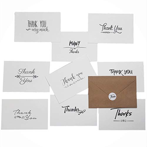 100 Thank You Cards Bulk Pack notes Set Box - Blank - 10 Vintage Handwritten Designs -100 Brown Kraft Paper Envelopes & Stickers- 4 x 6 Inches - Personal and Business use - Bridal and Baby showers
