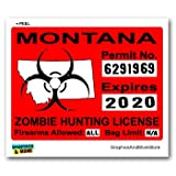 Montana MT Zombie Hunting License Permit Red - Biohazard Response Team - Window Bumper Locker Sticker