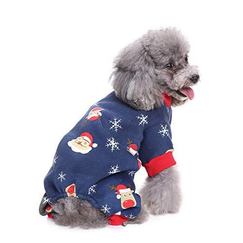 BWOGUE Small Dogs Christmas Clothes Santa Thermal Dog Pajamas Xmas Pet Costumes Fleece Coat Jumpsuit Soft Suit Shirts,Medium (Thermal Work Jumpsuit)