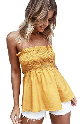 Shirred Short Dress Cocktail Dress - Tube Tops for Women Comfy Cotton Strapless Top (S, Mustard)