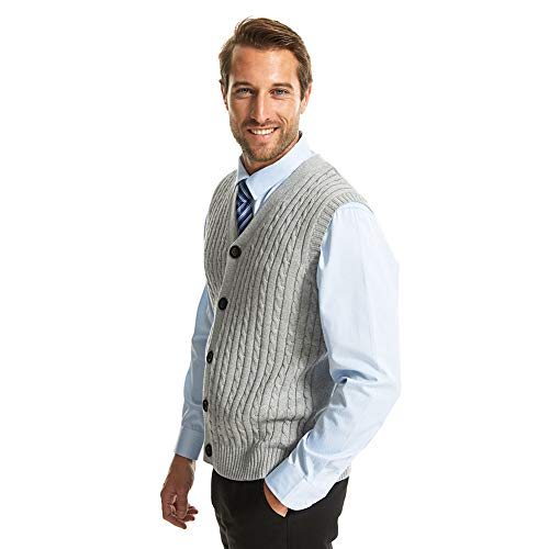 Cashmere Sweater Cable (APRAW Mens Casual Slim Fit Cable Knitted Sweater Vest V-Neck with Buttons Light Grey)