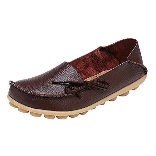 wyhweilong Women Leather Walking Shoes Casual Flat Driving Loafers Brown