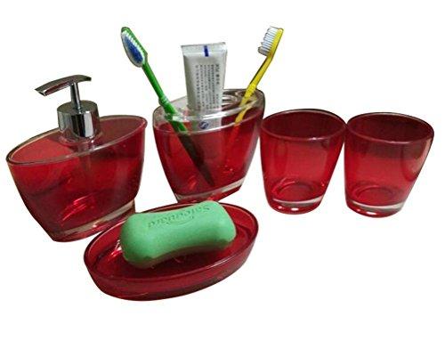 JynXos Acrylic 5 Pieces Bathroom Accessory Set - Prolate Translucent Red Design Emsemble Bathroom Vanities Home Decor