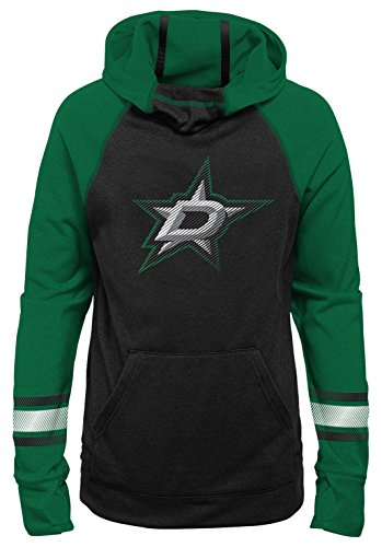 Outerstuff NHL Dallas Stars Youth Girls Female Forward Funnel Neck Hoodie, X-Large(16), Black